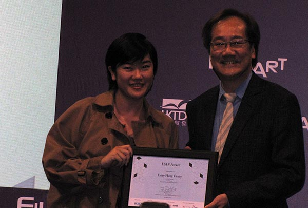 HAF Award winner LUK Yee-sum (left) and Create Hong Kong's Jerry Liu
