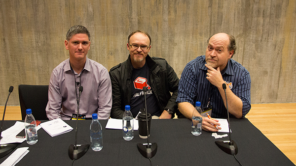 Stephen Knightly,Jason Harwood, Alex St John at NZGDC 2013
