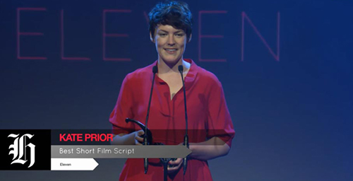 Kate Prior accepting the Best Short gong, and also the winner of the Short Film script award