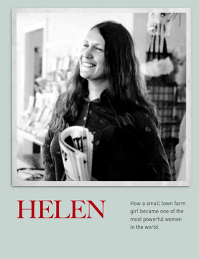 Helen: like the newspaper she carries, in black and white and red from cover to cover