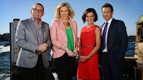 Ten's Breakfast team before the cornflakes started flying Picture: Sam Ruttyn, The Daily Telegraph