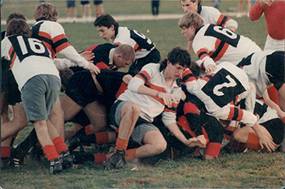 The Rugby Player's Mark Bingham, with bloody knee